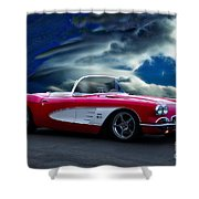 1959 Chevrolet Corvette Convertible II Shower Curtain