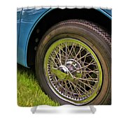 1959 Jaguar X K 150s Wire Wheel Shower Curtain