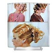 1960 70 Stylish Female Hair Styles Golden Blond Shower Curtain