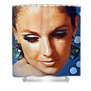 1960 70 Stylish Lady In Blue Shower Curtain