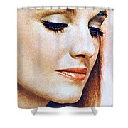 1960 70 Stylish Lady In Red Shower Curtain