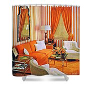 1960 70 Stylish Living Room Advertisement Orange And Stripes Groovy Baby Shower Curtain