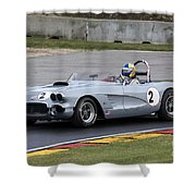 1960 Chevy Corvette At Road America Shower Curtain