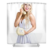 1960s Hot Gossip Woman With Retro Telephone Shower Curtain