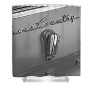 1961 Rambler Emblem B And W Shower Curtain