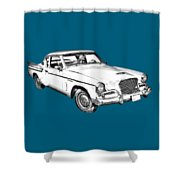 1961 Studebaker Hawk Coupe Illustration Shower Curtain