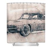 1963 Chevrolet Corvette Sting Ray - 1963 - Automotive Art - Car Posters Shower Curtain