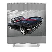 1963 Corvette Stingray Split Window In Black And Red Shower Curtain
