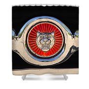 1963 Jaguar Xke Roadster Emblem Shower Curtain