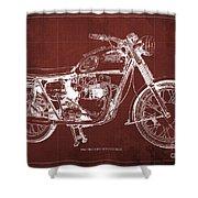1963 Triumph Bonneville, Blueprint Red Background Shower Curtain