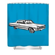 1964 Chevrolet Impala Car Illustration Shower Curtain