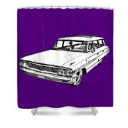 1964 Ford Galaxy Country Stationwagon Illustration Shower Curtain
