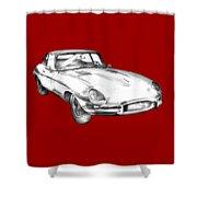 1964 Jaguar Xke Antique Sportscar Illustration Shower Curtain