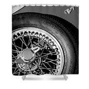 1964 Morgan 44 Spare Tire Black And White Shower Curtain