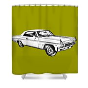 1965 Chevy Impala 327 Convertible Illuistration Shower Curtain