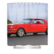 1965 Ford Mustang 'red Coupe' I Shower Curtain