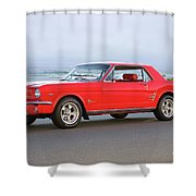 1965 Ford Mustang 'red Coupe' II Shower Curtain