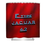 1965 Jaguar E Type Emblem Shower Curtain