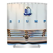 1965 Triumph Tr-4 Hood Ornament Shower Curtain