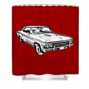 1966 Chevy Chevelle Ss 396 Illustration Shower Curtain