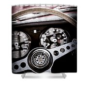 1966 Jaguar Xk-e Steering Wheel Emblem -2489ac Shower Curtain