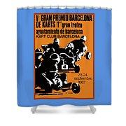 1967 Barcelona Kart Racing Poster Shower Curtain