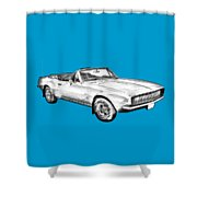 1967 Convertible Camaro Car Illustration Shower Curtain
