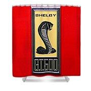 1967 Ford Shelby Gt 500 Cobra Fender Emblem On Red Shower Curtain