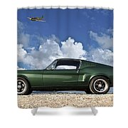 1968 Ford Bullitt Mustang Gt 390 Fastback, P-51 Mustang, Plymouth Rock Chicken Shower Curtain