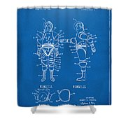 1968 Hard Space Suit Patent Artwork - Blueprint Shower Curtain by Nikki Marie Smith