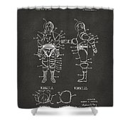 1968 Hard Space Suit Patent Artwork - Gray Shower Curtain by Nikki Marie Smith