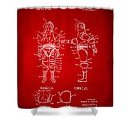 1968 Hard Space Suit Patent Artwork - Red Shower Curtain by Nikki Marie Smith