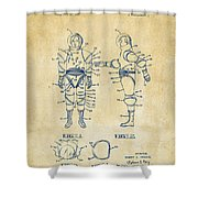 1968 Hard Space Suit Patent Artwork - Vintage Shower Curtain
