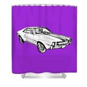 1969 Amc Javlin Car Illustration Shower Curtain