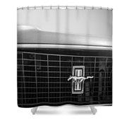 1969 Ford Mustang Grille Emblem -0133bw Shower Curtain