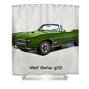 1969 Green Pontiac Gto Convertible Shower Curtain