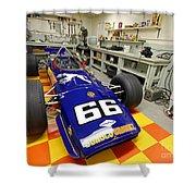 1969 Penske Indy Car In Garage Shower Curtain