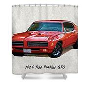 1969 Red Pontiac Gto The Judge Shower Curtain