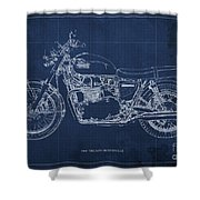 1969 Triumph Bonneville Blueprint Blue Background Shower Curtain