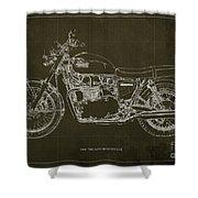 1969 Triumph Bonneville Blueprint Brown Background Shower Curtain
