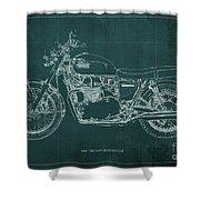 1969 Triumph Bonneville Blueprint Green Background Shower Curtain