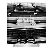 1970 Chevrolet Chevelle Ss Grille Emblem - Engine -0171bw Shower Curtain