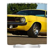 1970 Hemi 'cuda - Lemon Twist Yellow Shower Curtain