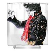 1971 Black Pinwheel Suit Shower Curtain