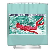 1972 Comoro Islands Spearfishing Postage Stamp Shower Curtain