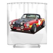 1972 Fiat Abarth 124 Rally Illustration Shower Curtain