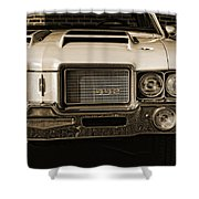 1972 Olds 442 - Sepia Shower Curtain