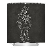 1973 Astronaut Space Suit Patent Artwork - Gray Shower Curtain by Nikki Marie Smith