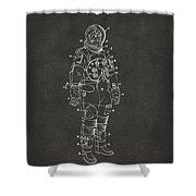 1973 Astronaut Space Suit Patent Artwork - Gray Shower Curtain