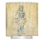 1973 Astronaut Space Suit Patent Artwork - Vintage Shower Curtain by Nikki Marie Smith